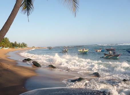 Fiskerbåde ved den srilankanske kyst