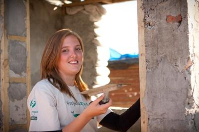 Billede fra byggeprojektet i et township i Sydafrika