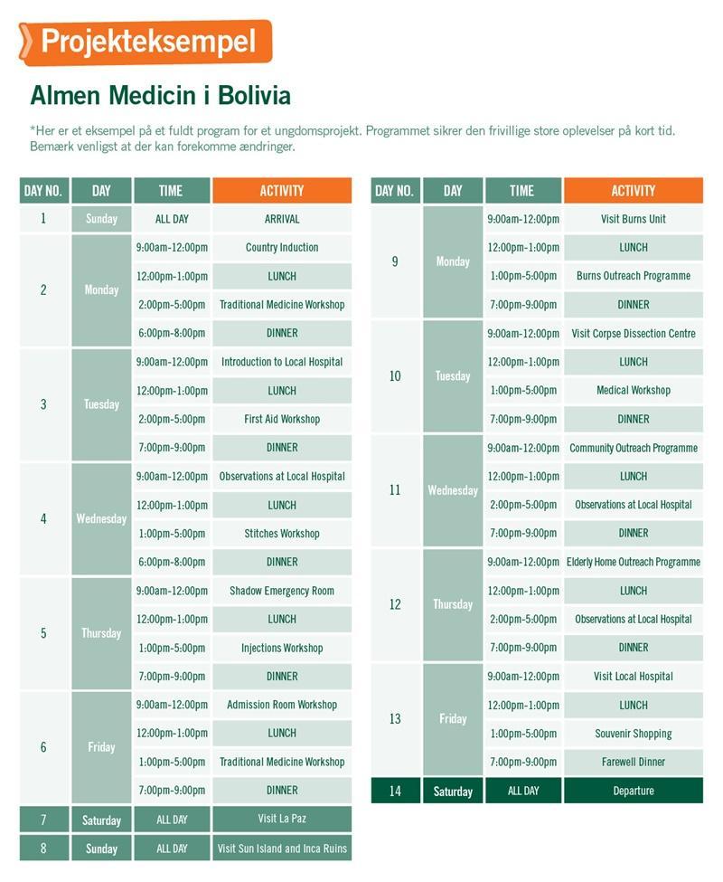 Ungdomsprojekt inden for Almen Medicin i Bolivia - Program for 2 uger