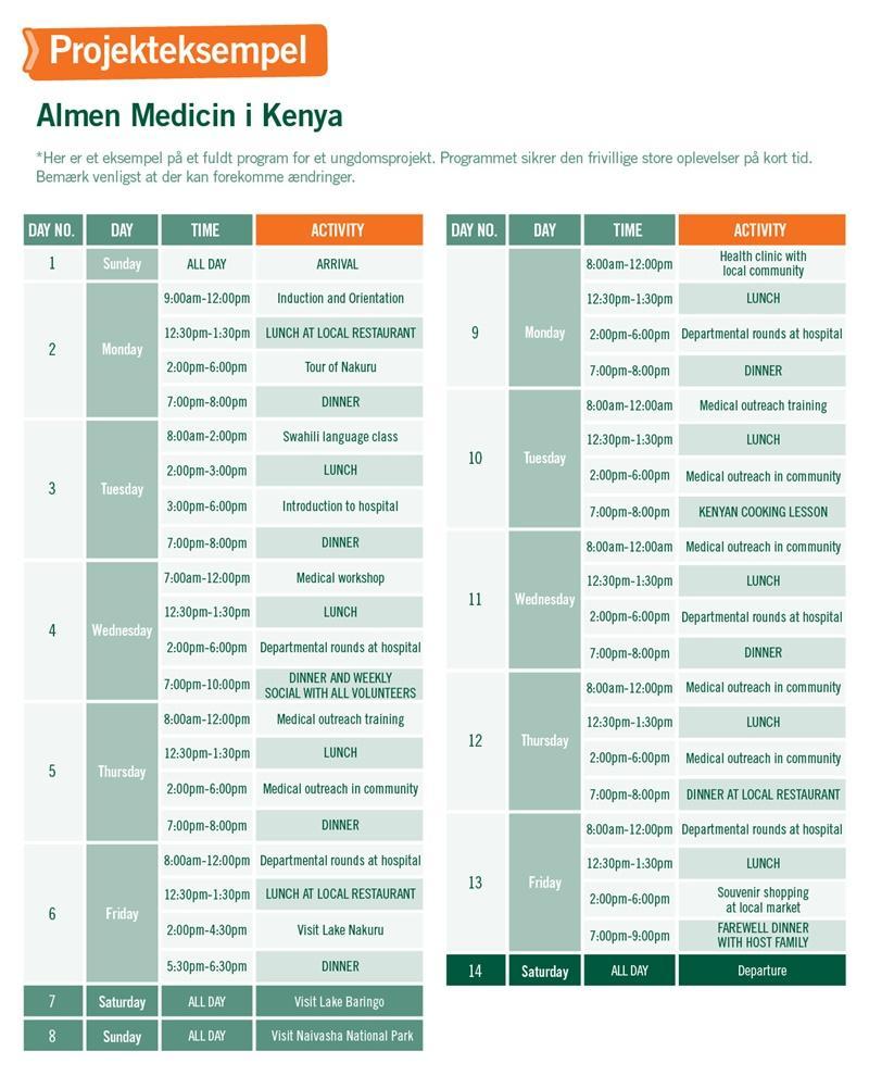 Ungdomsprojekt med Medicin & Sundhed i Kenya - Program for 2 uger