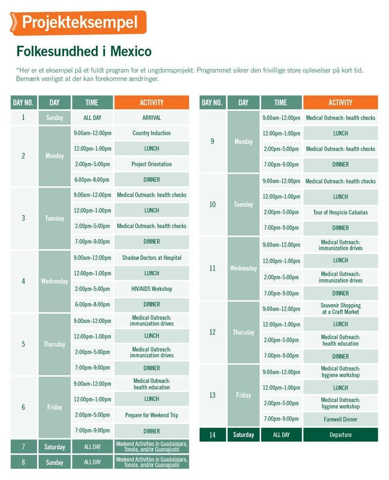 Ungdomsprojekt med Folkesundhed i Mexico - Program for 2 uger