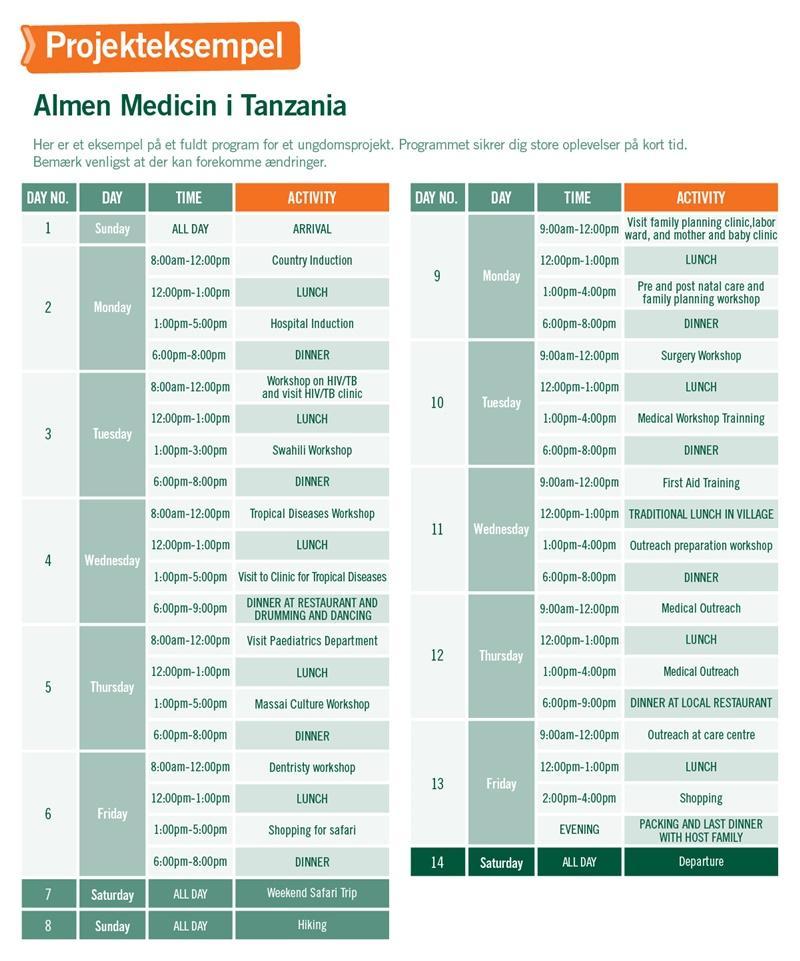 Ungdomsprojekt med Medicin & Sundhed i Tanzania - Program for 2 uger