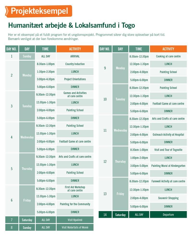 Humanitært arbejde & Lokalsamfund i Togo - Program for 2 uger